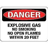 危険爆発性ガス禁煙裸火 メタルポスタレトロなポスタ安全標識壁パネル ティンサイン注意看板壁掛けプレート警告サイン絵図ショップ食料品ショッピングモールパーキングバークラブカフェレストラントイレ公共の場ギフト