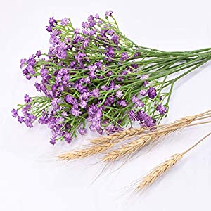 Silk Flower Arrangements Caseyaria Baby Breath Gypsophila Artificial Flowers Bouquets Fake Real Touch Flowers for Wedding Party Decoration DIY Home Decor,Purple