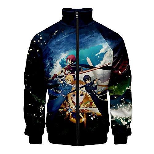 Sword Art Online Pullover Frühling und Herbst arbeiten Mantel-beiläufige Persönlichkeit Studenten dünne Jacke Classic Trend Wilder Reißverschluss Pullover Oberbekleidung Langarm-lose Sweatshirt Colleg