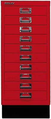 BISLEY MultiDrawer, série 29 avec Socle, Format A4, 10 tiroirs, Métal, 670 Rouge Cardinal, 38 x 27,9 x 67 cm