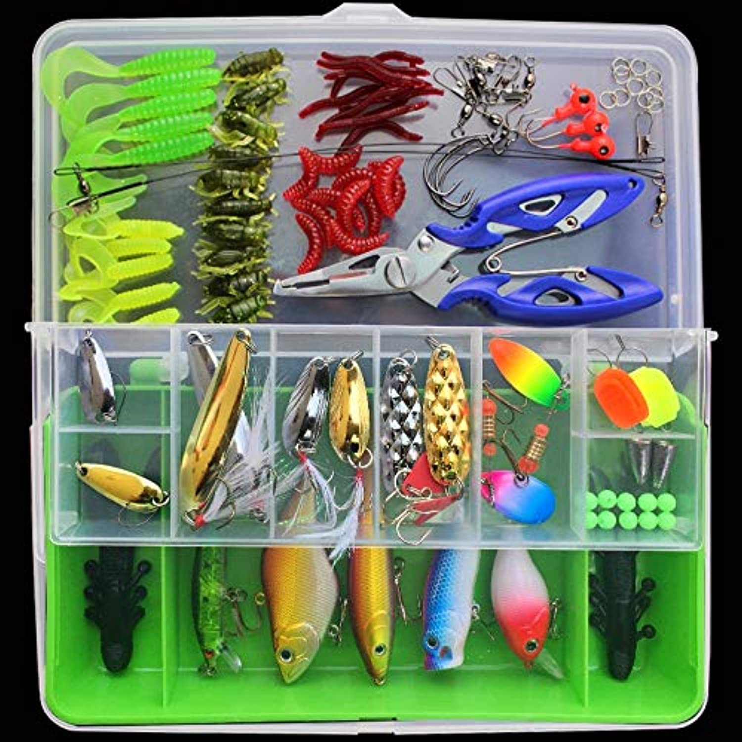 Ouyingmatealliance Outdoor&Sports Fishing Outdoor&Sports Fishing 101 PCS Fishing Bait Lure Kit Fishing Tackle (Green)