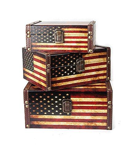 Panojoe Set di 3 Cassette in Legno, cassapanca, cassapanca, cassapanca, cassapanca, cassapanca, Stile Vintage, incastrabili (24 x 19 x 11,5 cm/21 x 16 x 9,5 cm/18 x 13 cm)
