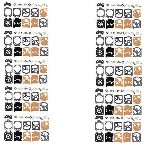 QAZAKY 10 Set Reemplazo del kit de reconstrucción del carburador para Walbro K20-WAT Homelite Husqvarna Jonsered McCulloch Mac 35 40 46 Sachs-Dolmar 100 102 109 110 111 115 340 400 BC330 Motosierra