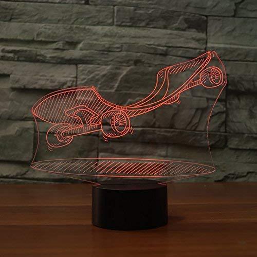 3D-LED-Nachtlicht Skateboard Modelling Street Art Lampe Neben Tischlampe 7 Farben Änderndes Noten-Schalter Tischdekoration Lampen Geburtstags-Geschenk
