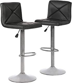 BestOffice Bar Stools Set of 2 Counter Height Swivel Stool PU Leather Modern Height Adjustable Swivel Barstools Hydraulic Chair Bar Stools