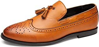 XinQuan Wang Brogue Oxford for Men Tassels Wedding Dress Shoes Slip on Microfiber Leather Rubber Sole Pointed Toe Anti-Slip Burnished Style (Color : Yellow, Size : 7.5 UK)