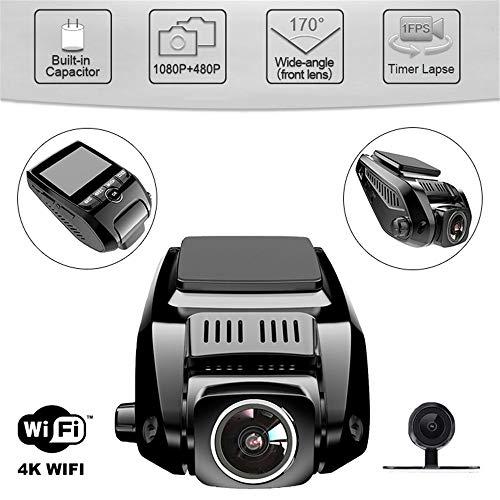 BQT Car Dash Cam 2,4 Pouces Écran FHD Objectif Full HD 1080P, avec caméra arrière arrière Grand Angle wifi170 °, caméra de Vision Nocturne pour Voiture DVR avec enregistreur G-Sensor