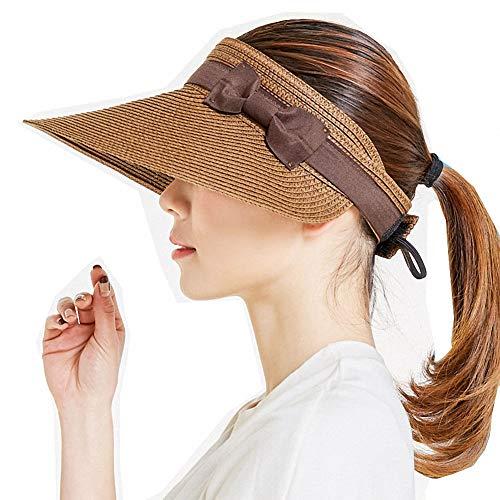 Visera plegable de verano para mujer con pajita con lazo UPF 50+ con visera enrollable plegable, Café 1, Talla única