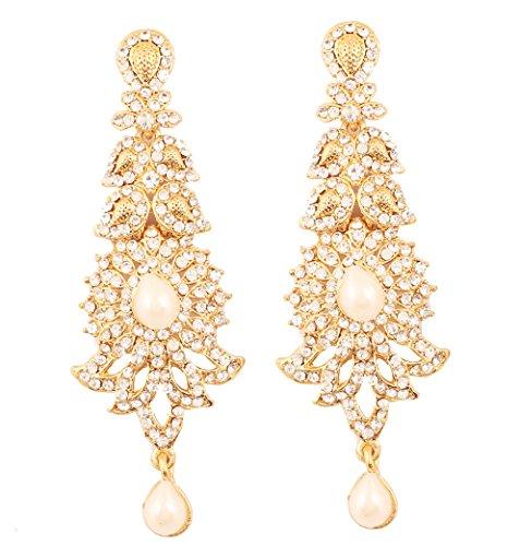 Touchstone Indische attraktive Paisley Motiv filigrane klare Rhein Faux Perlen Designer Brautschmuck lange Kronleuchter Ohrringe für Damen Perle