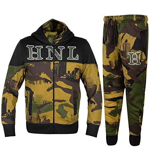 GUBA® Jungen Trainingsanzug Camouflage HNL Hoodie und Hose Jogginganzug Sportbekleidung 5-13 Jahre Gr. 146, Khaki Camo