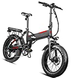 Bicicleta electrica Plegable Velocidad máxima de conducción 45 km/h Bikes electrica Plegable Ebike Iones de Litio 13.6AH Freno Frenos de Disco mecánicos, Negro