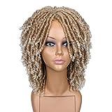 HANNE Short Synthetic Hair Dreadlock Wigs for Black Women and Men Crochet Twist Braids Wigs Afro Curly Synthetic Hair Braiding Wig Africa Hairstyle (Blonde)