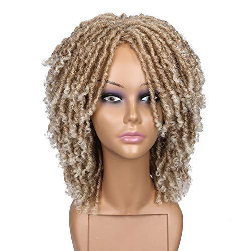 HANNE Short Synthetic Hair Dreadlock Wigs for Black Women and Men Crochet Twist Braids Wigs Afro Curly Synthetic Hair Braiding Wig Africa Hairstyle (Ombre Blonde)