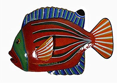 WorldBazzar RED Orange with Green Stripe Beautiful Unique Fish Metal Hanging Wall Art Scratch and DENT Sale