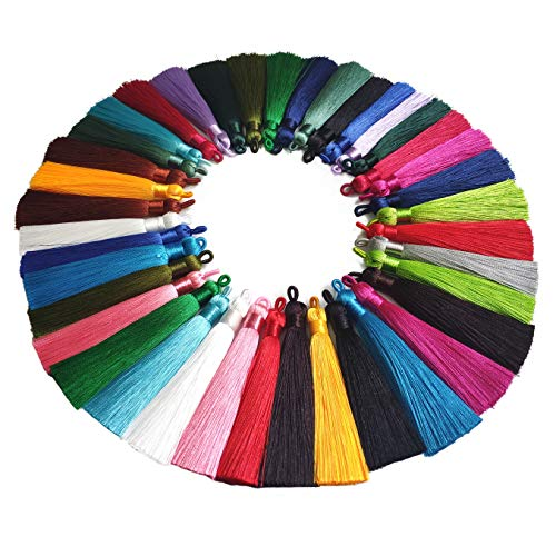 YXJDWEI 40Pcs Quasten 9cm 20 Farben Terylene Anhänger Handgefertigte Troddel Tassel mit Schleifen für Schmuckherstellung DIY Projekte Lesezeichen