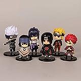 6 Piezas Anime Naruto Figura de Juguete Sasuke Kakashi Sakura Gaara Itachi Obito Madara Killer Bee M...
