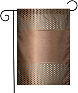 Mannwarehouse Industrial Garden Flag Perforated Grid Plate Steel with Dots Illustration Futuristic Technology Theme Premium Material W12 x L18 Ombre Bronze
