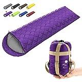 ECOOPRO Camping Sleeping Bag, 3 Season Sleeping Bag for Kids, Teens, Adults Indoor & Outdoor Use - Waterproof, Lightweight, Compact Sleeping Bag Great for Camping, Backpacking Hiking (E-Purple)