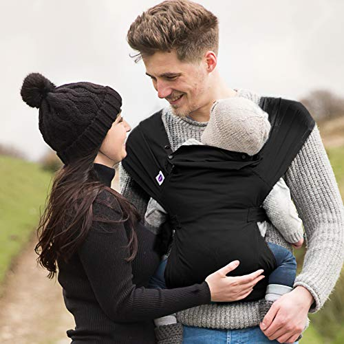 Izmi Essential Baby Carrier   Award Winning Adjustable Soft Structured Sling with 3 Different Carrying Positions   UK Hip Healthy Design Suitable From Newborn   Black