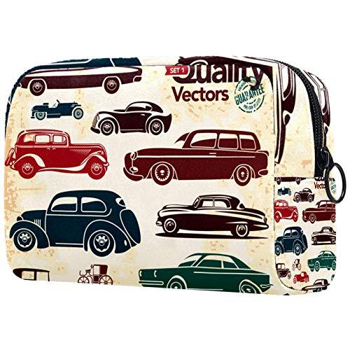 FURINKAZAN Bolsa de maquillaje de viaje con diseño de coches retro para artículos de tocador, bolsa de maquillaje para hombres y mujeres