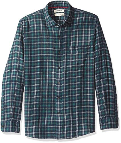 Amazon Brand - Goodthreads Men's Standard-Fit Long-Sleeve Plaid Flannel Shirt, navy green heather, Large