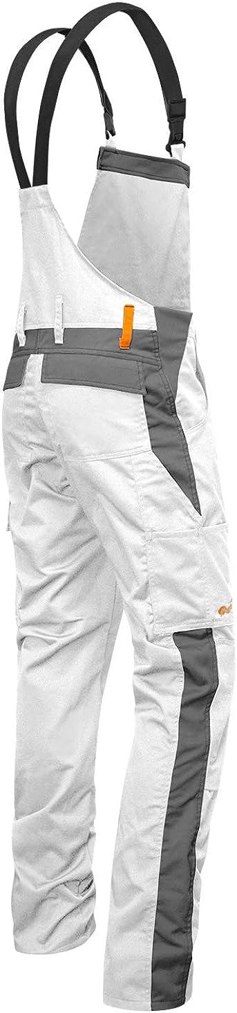 Hecho en Europa Blanco-Gris Bolsillos para Rodilleras Pantal/ón de Peto el/ástico de Trabajo Berlin Pantalones de Pintor strongAnt/®