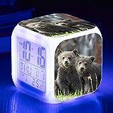 Wake Up Lights USB Cute Bear Alarm Clock 7 Color Glowing LED Mood Lamp Reloj Despertador Digital Para Niños Regalo De Cumpleaños Relojes Multifunción RelojD
