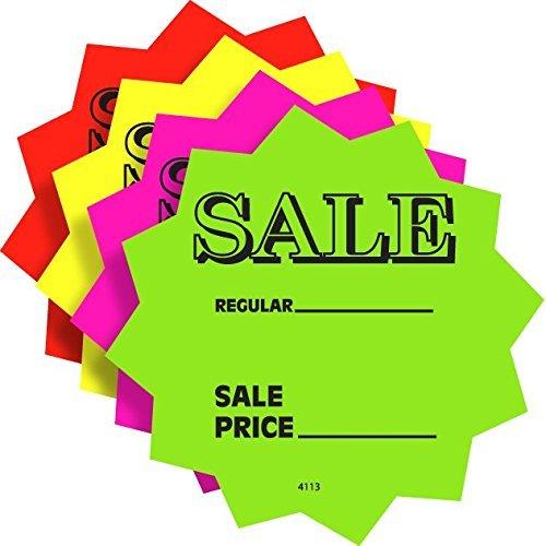 100 3' Sale Price Signs Fluorescent Neon Die Cut Solar Star Burst Retail Cards 25 Each Color, 1 Pack
