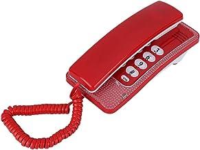 Mini Teléfono de Pared, Teléfono Fijo de Pared Retro con Función de Flash Función de Silenciamiento de llamadas,Teléfonos Montados en la Pared Inicio Habitaciones de Hotel Teléfono Pequeño (Rojo)
