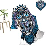 jecycleus Tribal Children's Blanket Owl Bird Animal with Paisley Tattoo Design with Big Blue Eyes Lashes Print Lightweight Soft Warm and Comfortable W80 x L60 Inch Navy Blue and Purple