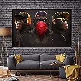 KWzEQ Mono de Pensamiento Divertido con Auriculares Cuadro Lienzo Pintura murales y Carteles Modernos,80X120cm,Pintura sin Marco