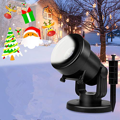 Albrillo Projecteur Lumiere Noël avec 16 Diapositives, LED Lampe Projection Décorative IP44 pour Intérieure et Extérieure, Application de la Fête d Anniversaire, Halloween, Mariage, Soirée etc.