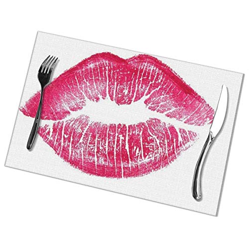 Eliuji Placemats Plaats Matten Placemats Roze Kus Mooie Rode Lippen Witte Lippenstift Mark Kleur Valentine Cosmetische Donker Meisje