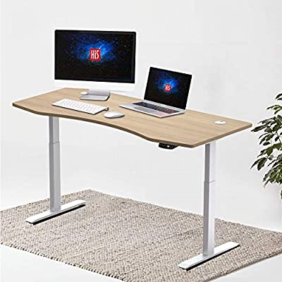 "Hi5 Ez Electric Height Adjustable Standing Desk with Ergonomic Contoured Tabletop (71""x 31.50"") and Dual Motor Lift System for Home Office Workstation -(Oak Color top/White Frame)"