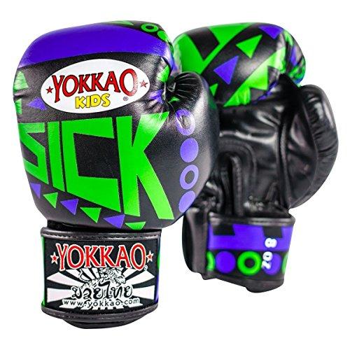 Yokkao malati Muay Thai boxe guanti blu/verde per bambini, 10oz