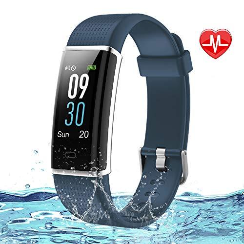 Lintelek Fitness Armband Wasserdicht IP68 Fitness Tracker Smartwatch mit Pulsmesser 0,96 Zoll Farbdisplay Fitness Uhr Home Exercise Aktivitätstracker GPS Schrittzähler Uhr Smart Watch
