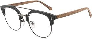 Frame Vintage Fashion Casual Wood Glasses Plain Glasses Handmade Wood Plate Glasses (Color : 01Black, Size : Free)