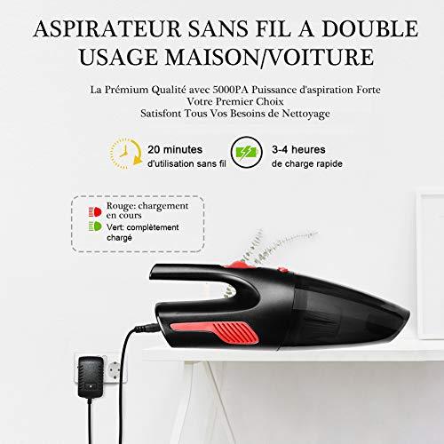 Aspirateur à Main Sans Fil,AUELEK Aspirateur Voiture Rechargeable 5000PA HEPA Cyclonique Puissante...