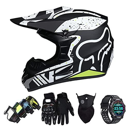 Casco Motocross Niño Set con Diseño FOX, Adulto y Juventud Integral Homologado Moto Cross Casco para Downhill ATV Enduro Off Road (Gafas+Máscara+Guantes+Reloj Inteligente) LXY-1
