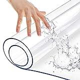 長方形ポリ塩化ビニルガラステーブルクロス テーブルランナー ダイニングルーム コーヒーテーブルプロテクター 家具保護 透明プラスチックデスクマット トップクリアデスクトップテーブルシートカバー マット 拭き取り可能 防水 24x84インチ