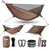 ETROL Camping Hammock with Mosquito Net,Portable Double Hammock ,2 in 1 Lightweight Hammocks for Outdoor Indoor Travel Backpacking Patio Beach- Tree Straps Carabiners Ridgeline Nails Elastic Rope