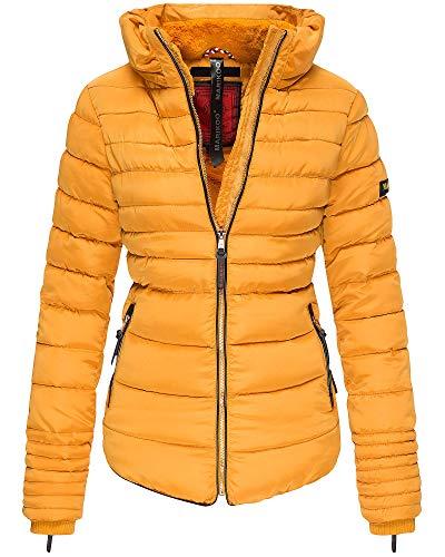 Marikoo Damen Jacke Winter Jacke Steppjacke Trend Jacke Trendfarben MB1 (XL, Gelb)