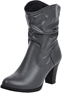ELEEMEE Women Block Heel Slouch Boots Pull On