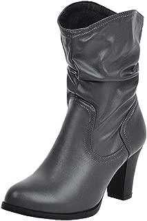 ELEEMEE Women Block Heel Slouch Boots Pull On