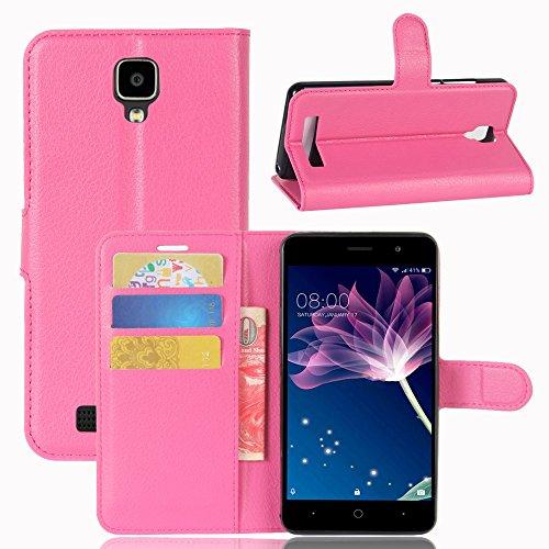 HongMan Handyhülle für DOOGEE X10 / X10S Hülle, Premium Leder PU Flip Hülle Wallet Lederhülle Klapphülle Magnetisch Silikon Bumper Schutzhülle Tasche mit Kartenfach Geld Slot Ständer, Pink