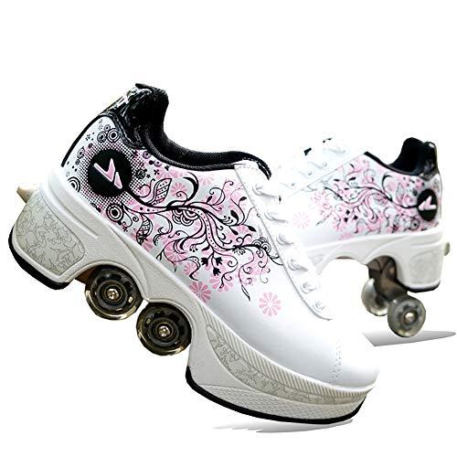 Zapatos Patines Doble Fila 4 Rueda Patines En Paralelo para Niñas Y Niños para Adultos Patinar/Bailar/Navidad/Halloween/Acción De Gracias