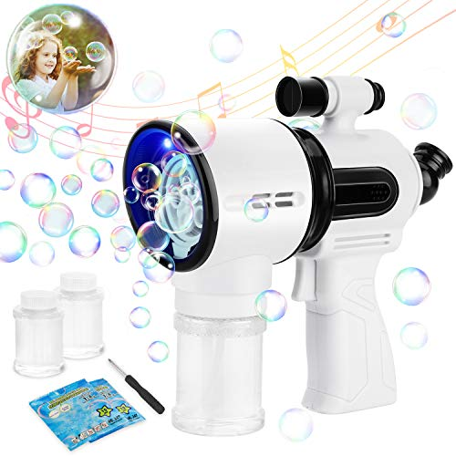 Bubble Machine Gun for Kids - Telescope bubble gun - Automatic Bubble Blower - Kids Summer Outdoor Fun Bubble Blaster Toy with LED Lights and Music for Birthdays and Parties( 4 Bubble solution Refill)
