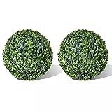 vidaXL 2X Bola de Boj Hoja Artificial 35 cm Arbusto de Jardín Planta Imitación