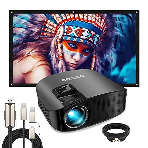 Projector, GooDee 2020 Upgrade HD Video Projector Outdoor Movie Projector with 100 Inch Projector Screen+Phone to HDMI Cable, 4K HD 16: 9 Portable Video Widescreen Movies Screen for Home Theater