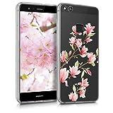 kwmobile Funda Compatible con Huawei P10 Lite - Carcasa de TPU y Magnolias en Rosa Claro/Blanco/Transparente